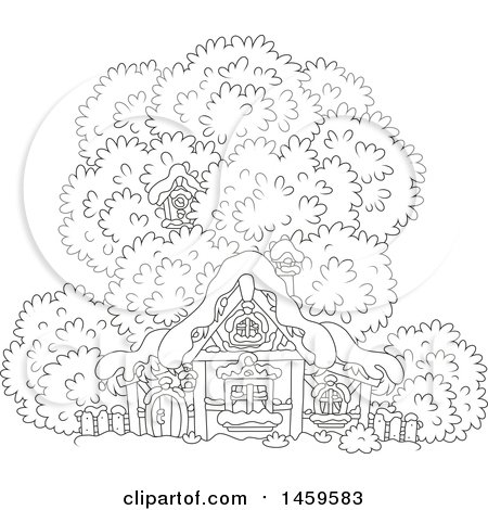 Clipart of a Black and White Birdhouse in a Tree over a Cottage in Winter Snow - Royalty Free Vector Illustration by Alex Bannykh