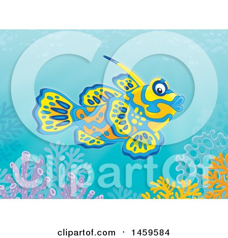 Clipart of a Mandarinfish Goby over a Coral Reef - Royalty Free Illustration by Alex Bannykh