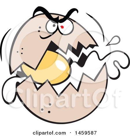 Clipart of a Cartoon Raging Egg Cracking - Royalty Free Vector Illustration by Johnny Sajem