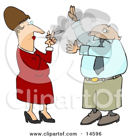 Businessman Lifting His Arms To Shield His Face From A Rude Woman's Secondhand Smoke Who Is Smoking A Cigarette And Blowing It In His Face  Posters, Art Prints