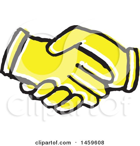 Yellow Pop Art Styled Hands Shaking Posters, Art Prints