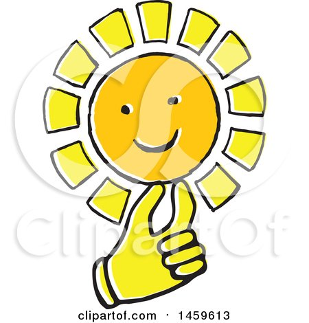 Clipart of a Yellow Pop Art Styled Hand Holding a Sun - Royalty Free Vector Illustration by Cherie Reve