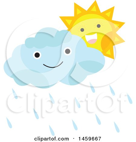 Clipart of a Happy Sun and Rain Cloud - Royalty Free Vector Illustration by Cherie Reve