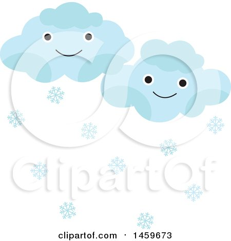 Clipart of Happy Snow Clouds Weather Icon - Royalty Free Vector Illustration by Cherie Reve