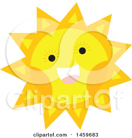Clipart of a Happy Sun Weather Icon - Royalty Free Vector Illustration by Cherie Reve