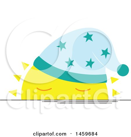 Clipart of a Sleepy Setting Sun Weather Icon - Royalty Free Vector Illustration by Cherie Reve