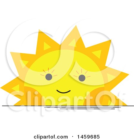 Clipart of a Happy Setting Sun Weather Icon - Royalty Free Vector Illustration by Cherie Reve