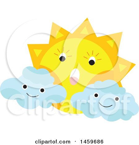 Clipart of a Cloud and Sun Weather Icon - Royalty Free Vector Illustration by Cherie Reve