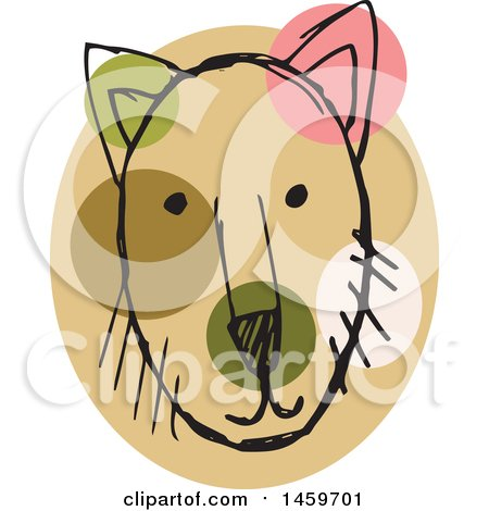 Clipart of a Sketched Dog Face - Royalty Free Vector Illustration by Cherie Reve