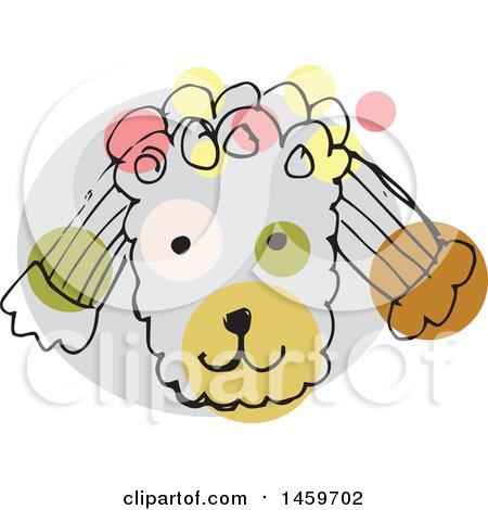 Clipart of a Sketched Poodle Dog Face - Royalty Free Vector Illustration by Cherie Reve