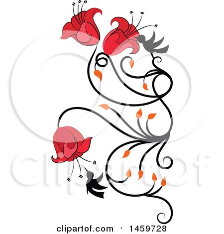 Clipart of a Hummingbird and Red Flower Vine Design Element - Royalty Free Vector Illustration by Cherie Reve