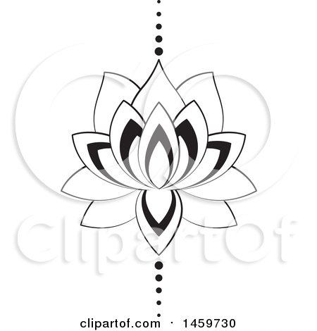 Clipart Of A Black And White Lotus Flower And Dots Design Royalty