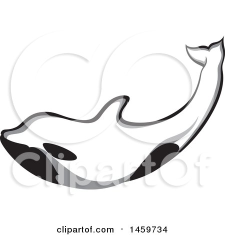 Clipart of a Swimming Orca Killer Whale - Royalty Free Vector Illustration by Cherie Reve