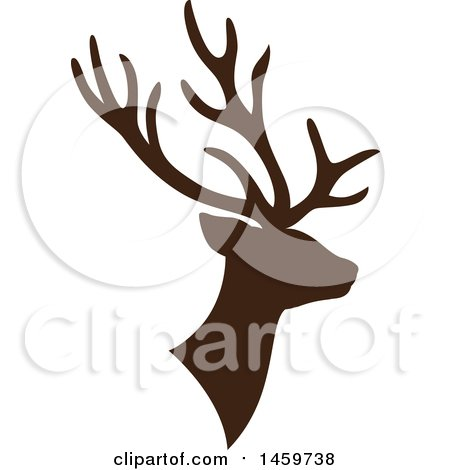 Clipart of a Brown Silhouetted Reindeer - Royalty Free Vector Illustration by Cherie Reve