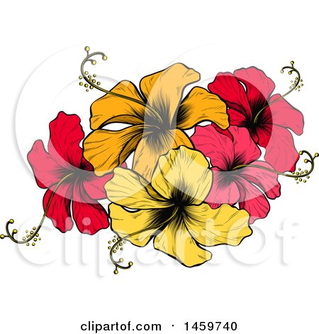 Engraved or Woodcut Colorful Hibiscus Flower Design Posters, Art ...
