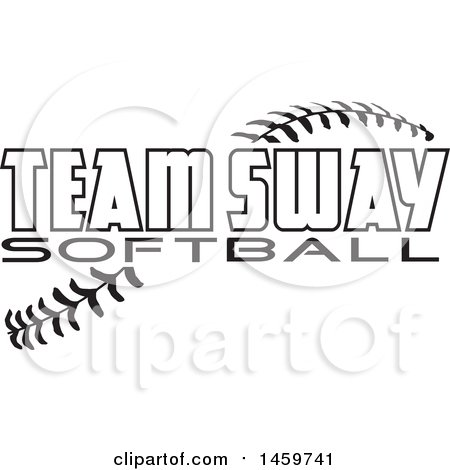 Clipart of Black and White Team Sway Softball Text over Stitches - Royalty Free Vector Illustration by Johnny Sajem