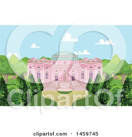 Clipart of a Pink Palace and Courtyard - Royalty Free Vector Illustration by Pushkin