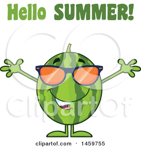 Clipart of a Welcoming Watermelon Character Mascot with Open Arms and Sunglasses Under Hello Summer Text - Royalty Free Vector Illustration by Hit Toon