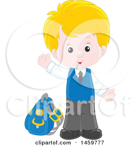 Clipart of a Happy School Boy Waving and Waiting at a Bus Stop - Royalty Free Vector Illustration by Alex Bannykh