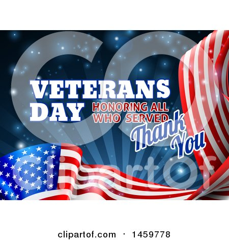 Clipart of a 3d Waving American Flag with Veterans Day Honoring All Who Served Thank You Text and Blue Sparkles and Rays - Royalty Free Vector Illustration by AtStockIllustration