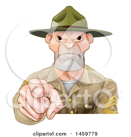 Clipart of a Mad Male Army Boot Camp Drill Sergeant Pointing at You - Royalty Free Vector Illustration by AtStockIllustration