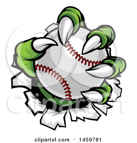 Clipart of Green Monster Claws Ripping Through Metal with a Baseball - Royalty Free Vector Illustration by AtStockIllustration