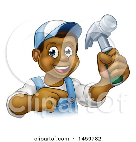 Cartoon Happy Black Male Carpenter Holding a Hammer and Pointing Posters, Art Prints