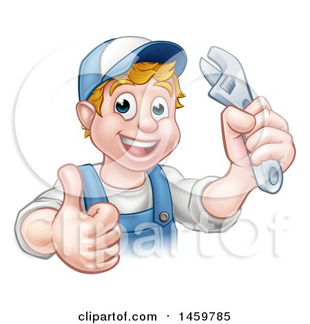 Cartoon Happy White Male Plumber Wearing a Hat, Holding an Adjustable Wrench and Giving a Thumb up Posters, Art Prints