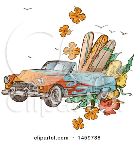 Clipart of a Sketched Vintage Convertible Car with Surf Boards and Flowers - Royalty Free Vector Illustration by Domenico Condello