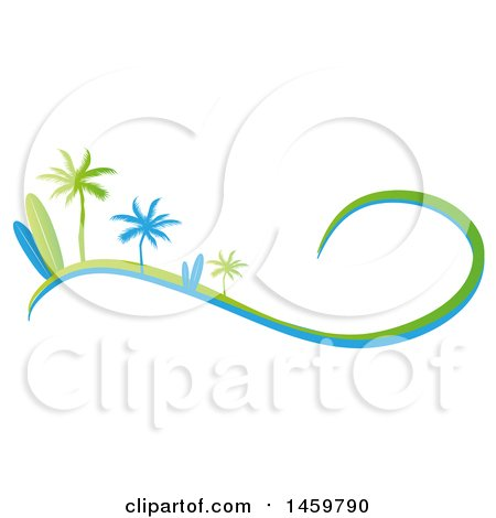 Clipart of a Green and Blue Palm Tree and Surfboard Design with a Wave - Royalty Free Vector Illustration by Domenico Condello