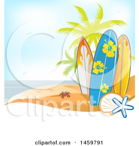 Clipart of a Tropical Beach with a Crab, Palm Trees and Surfboards over Text Space - Royalty Free Vector Illustration by Domenico Condello
