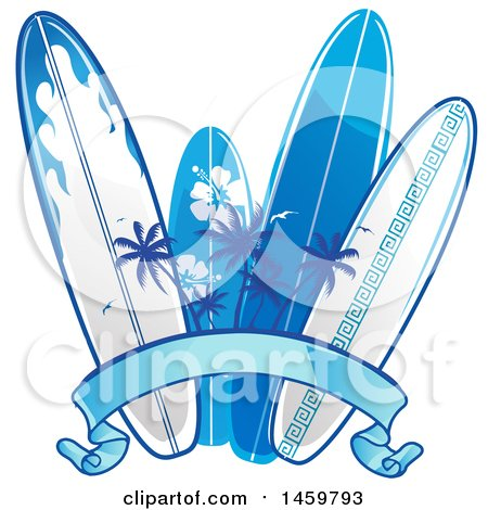 Clipart of a Palm Tree and Blue Surfboard Design with a Ribbon Banner - Royalty Free Vector Illustration by Domenico Condello