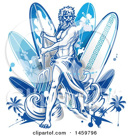 Clipart of a Poseidon and Surfboard Design - Royalty Free Vector Illustration by Domenico Condello