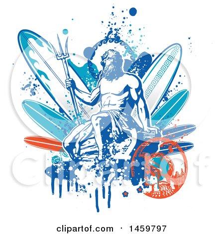Poseidon and Surfboard Design Posters, Art Prints