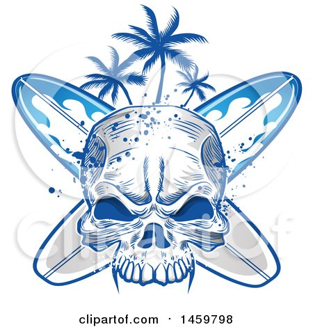 Clipart of a Human Skull, Palm Tree and Surfboard Design - Royalty Free Vector Illustration by Domenico Condello