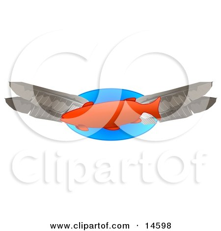 Orange Fish Swimming With Feathers Clipart Illustration by djart
