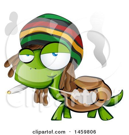 Clipart of a Cartoon Jamaican Rasta Tortoise Smoking a Marijuana Joint - Royalty Free Vector Illustration by Domenico Condello