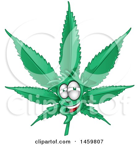 Clipart of a Cannabis Pot Leaf Mascot - Royalty Free Vector Illustration by Domenico Condello
