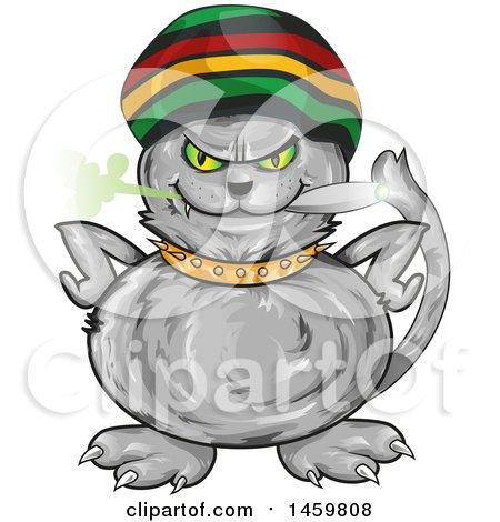 Clipart of a Cartoon Jamaican Rasta Cat Smoking a Marijuana Joint - Royalty Free Vector Illustration by Domenico Condello