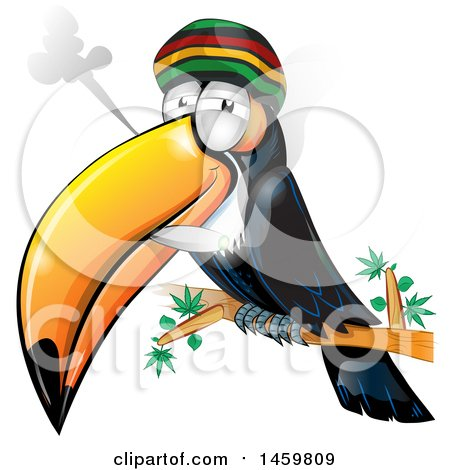 Clipart of a Cartoon Jamaican Rasta Toucan Bird Smoking a Marijuana Joint - Royalty Free Vector Illustration by Domenico Condello