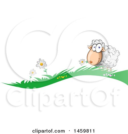 Clipart of a Cartoon Grass and Happy Sheep Border - Royalty Free Vector Illustration by Domenico Condello