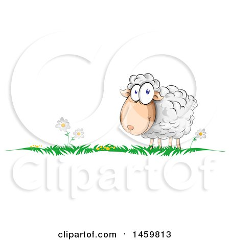 Clipart of a Cartoon Grass and Happy Sheep Border - Royalty Free Vector Illustration by Domenico Condello