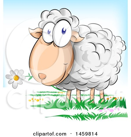 Clipart Of A Cartoon Sheep Eating a Flower - Royalty Free Vector Illustration by Domenico Condello