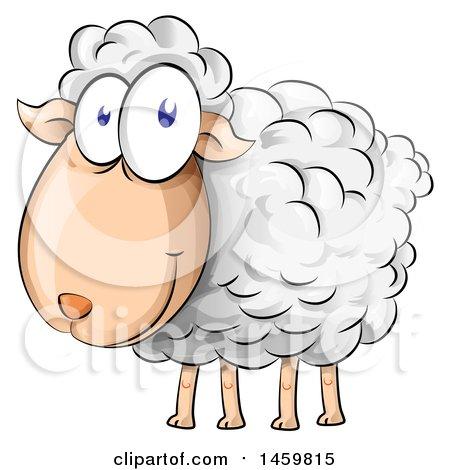 Clipart Of A Cartoon Sheep - Royalty Free Vector Illustration by Domenico Condello