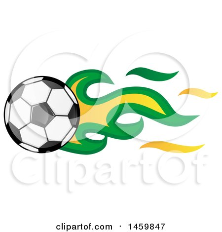 Clipart of a Soccer Ball with Brazilian Flag Flames - Royalty Free Vector Illustration by Domenico Condello
