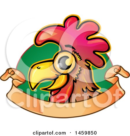 Clipart of a Chicken Mascot over Green and a Ribbon Banner - Royalty Free Vector Illustration by Domenico Condello