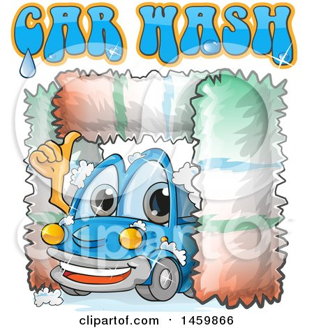 Clipart of a Blue Automobile Mascot Driving Through a Car Wash with Text - Royalty Free Vector Illustration by Domenico Condello