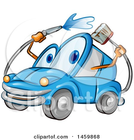 Clipart of a Blue Automobile Mascot Washing Itself - Royalty Free Vector Illustration by Domenico Condello