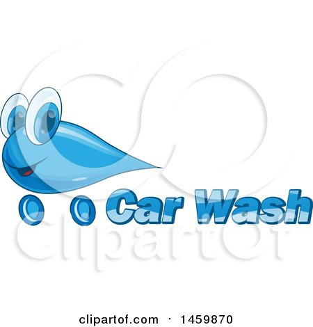 Clipart of a Car Wash Water Drop Mascot and Text Design - Royalty Free Vector Illustration by Domenico Condello