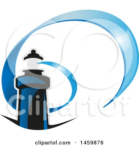 Clipart of a Blue Lighthouse and Spiraling Beacon - Royalty Free Vector Illustration by Domenico Condello